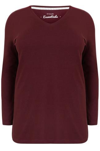 Burgundy Long Sleeve V-Neck Plain T-shirt