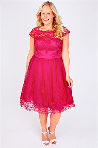 CHI CHI LONDON Hot Pink Sweetheart Embroidered Prom Dress