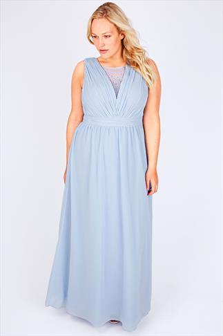 CHI CHI LONDON Pastel Blue Maxi Prom Dress With Diamanté Details