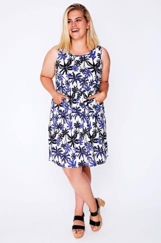 Cobalt & Ivory Palm Print Sleeveless Dress With Pockets