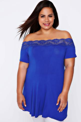 Cobalt Lace Bardot Top With Short Sleeves