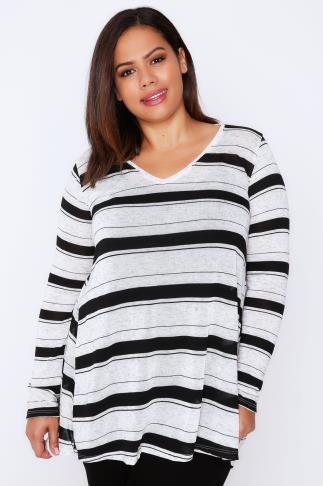 Cream & Black Striped Long Sleeve Top