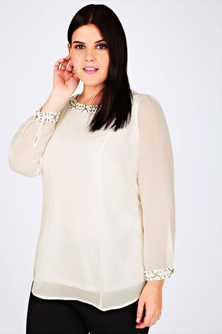 Cream Long Sleeve Swing Blouse With Embellished Neck & Cut Out Back