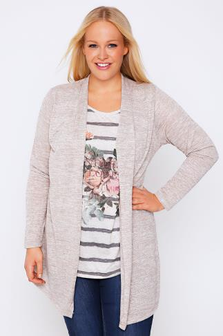 Cream Striped Floral Print 2 in 1 Cardigan Top With Long Sleeves