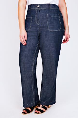 Dark Denim Slouch Wide Leg Jeans