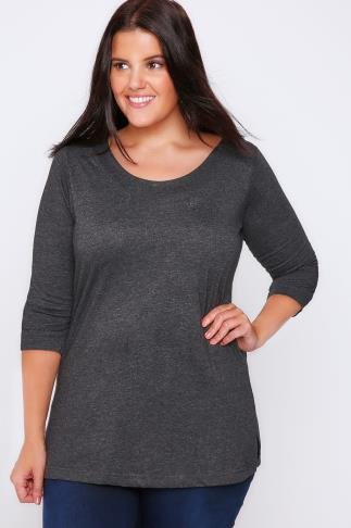 Dark Grey Band Scoop Neckline T-shirt With 3/4 Sleeves