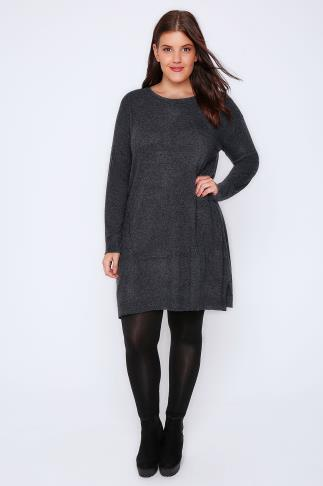 Dark Grey Wool Blend Tunic Dress With Front Seam Detail