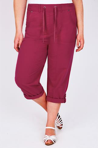 Dark Pink Cool Cotton Roll-Up Crop Trousers With Stud Detail