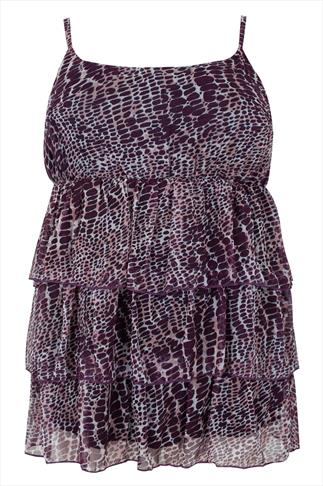 Dark Purple Animal Print Frill Swimwear Camisole