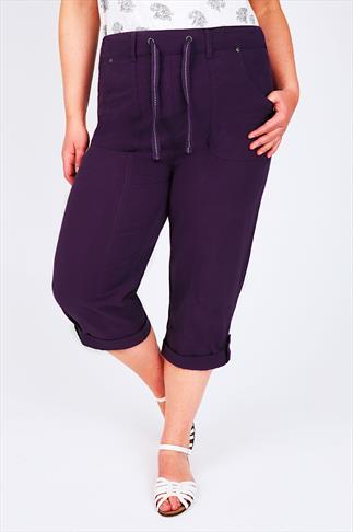 Dark Purple Cool Cotton Roll Up Crops With Tab & Button Detail