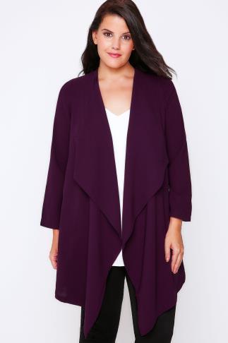 Dark Purple Crepe Longline Waterfall Jacket
