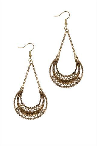 Gold & Amber Drop Earrings