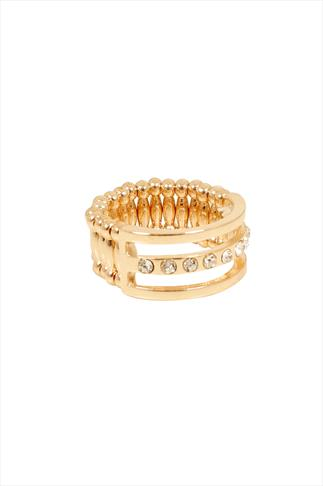Gold Diamanté Stretch Ring