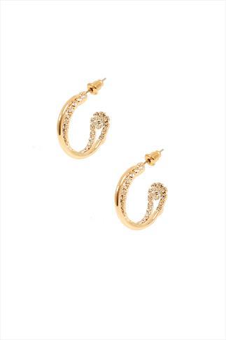 Gold Diamanté Twist Hoop Earrings
