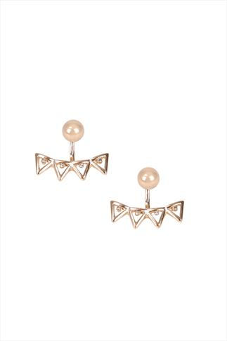Gold Double Stud & Triangle Earrings