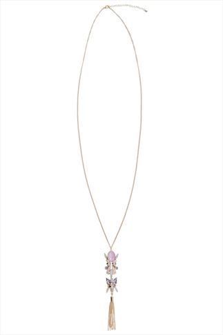 Gold Long Necklace With Pink Stone Tassel Pendant