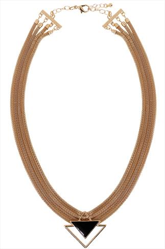 Gold Mesh 4 Chain Necklace With Triangle Pendant
