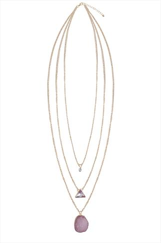Gold & Pink Natural Stone 3 Chain Necklace