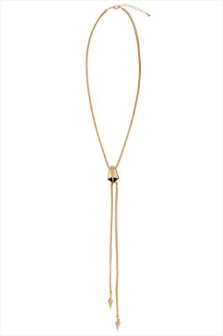 Gold Snake Chain Necklace With Arrow Head Pendants