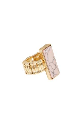 Gold Stretch Ring With Pale Pink Stone