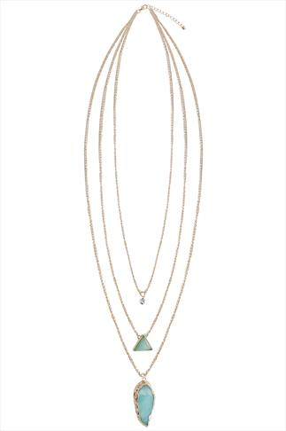 Gold & Turquoise Natural Stone 3 Chain Necklace