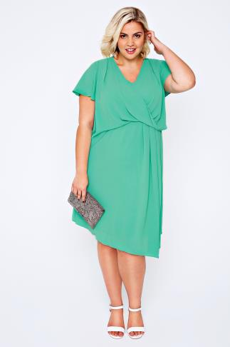 Green Wrap Front Midi Dress With Angel Sleeves