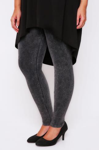 Grey Acid Wash Leggings