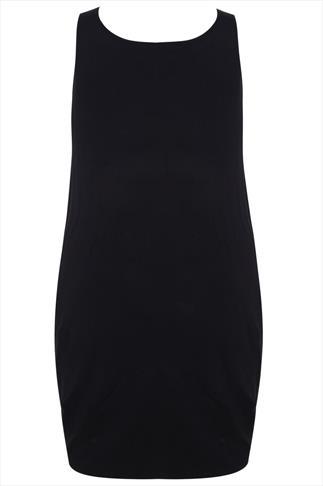 Grey & Black Floral Print Drape Pocket Sleeveless Jersey Dress