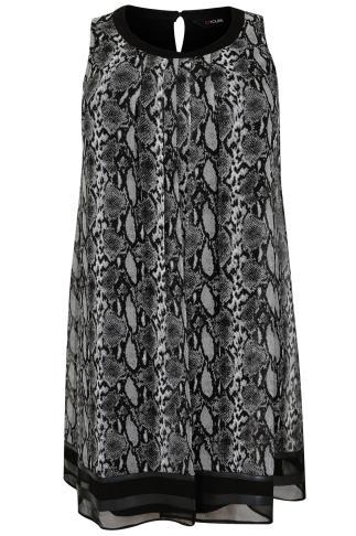 Grey & Black Snake Print Chiffon Overlay Tunic Dress