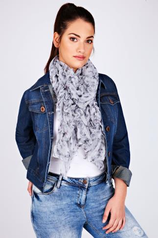 Grey Butterfly Elasticated Ruffle Scarf