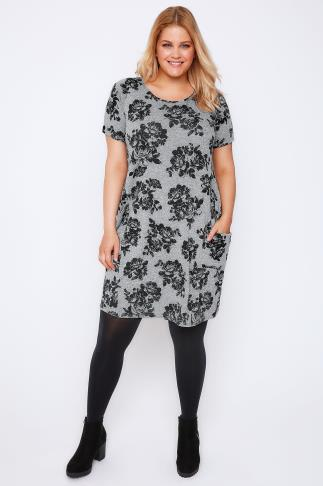 Grey Floral Print Dress With Drop Pockets