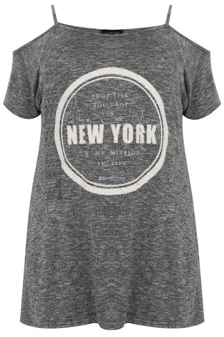 Grey Marl Cold Shoulder Top With 'New York' Beading & Print