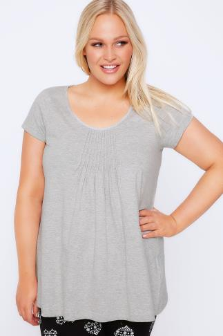 Grey Marl Pyjama Top With Pleated Front