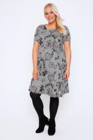 Grey Marl Rose Print Swing Dress