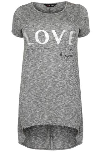 Grey Marl & Sliver Longline 'Love' Print Top