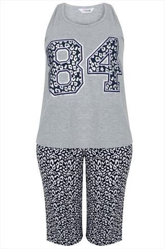 Grey & Navy Animal Print '84' Varisty Pyjama Set