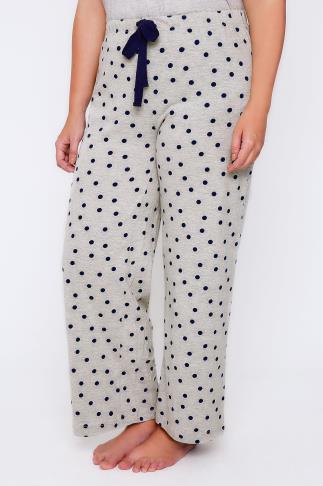 Grey & Navy Spot Print Pyjama Bottoms