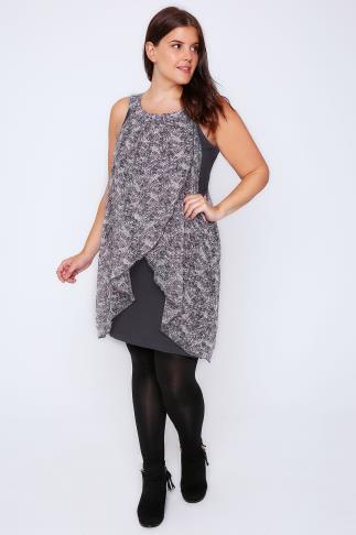 Grey, Pink & White Floral Print Chiffon Overlay Tunic Dress