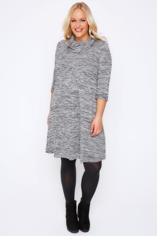 Grey Space Dye Swing Dress With Cowl Neck