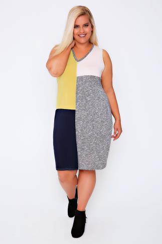 Grey marl, Yellow, Pink & Navy Colour Block Sleeveless Shift Dress