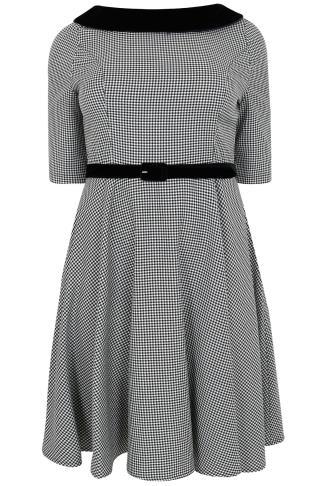 HELL BUNNY Black & White Mono Jackson Dress