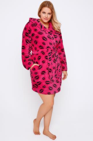 Hot Pink & Black Lip Print Fleece Dressing Gown