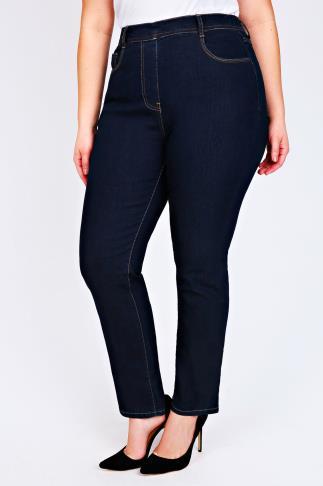 Indigo Pull On Straight Leg Jeans