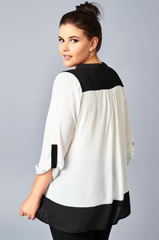 Ivory & Black Panelled Chiffon Shirt