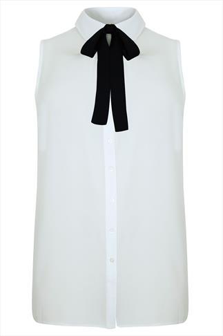 Ivory Chiffon Sleeveless Shirt With Black Neck Tie