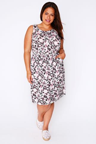 Ivory, Pink & Blue Butterfly Print Sleeveless Dress With Pockets