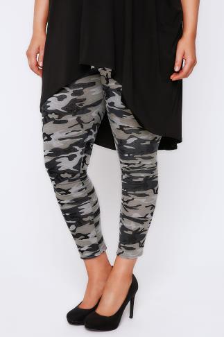 Khaki Camo Print Leggings
