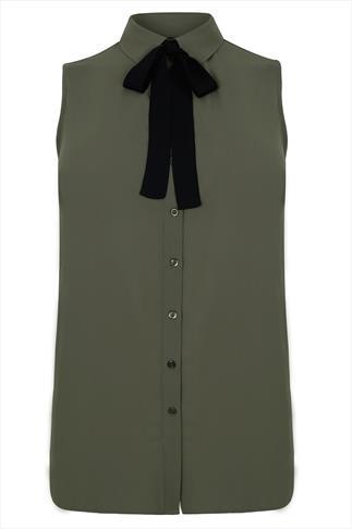 Khaki Chiffon Sleeveless Shirt With Black Neck Tie
