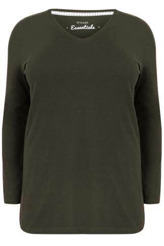 Khaki Long Sleeve V-Neck Plain T-shirt