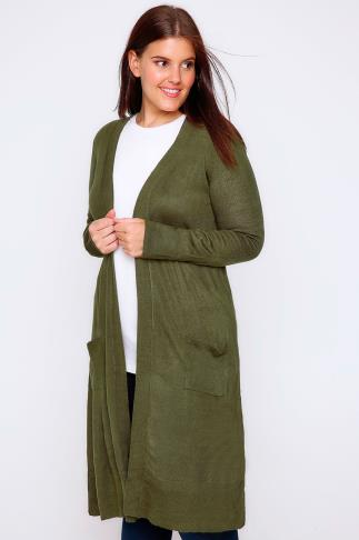 Khaki Maxi Knit Cardigan With Pockets
